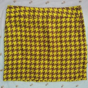 The Limited Yellow/Brown Houndstooth Mini Skirt
